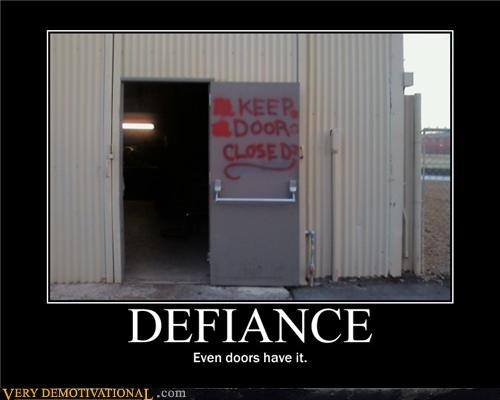 defiance,doors,hilarious,sign