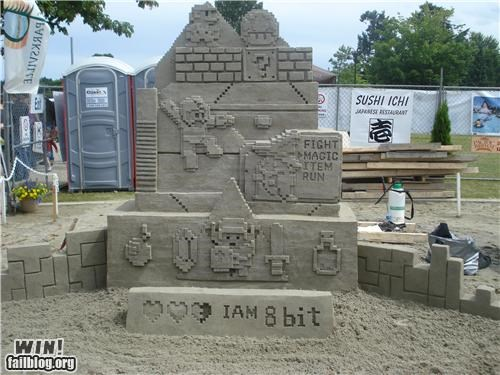 8 bit art awesome nerdgasm sand sculpture video games - 4985383936