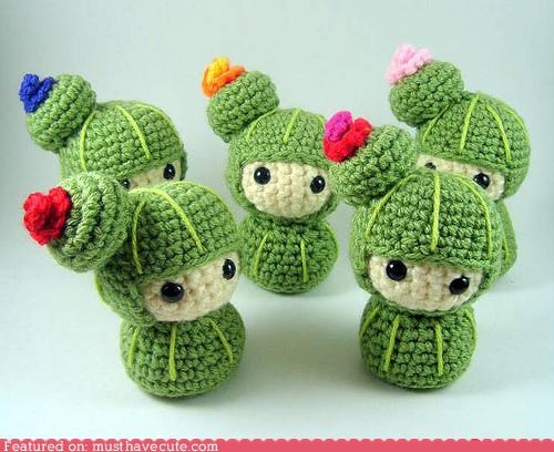 Amigurumi cacti cactus crochet faces flowers - 4985487872