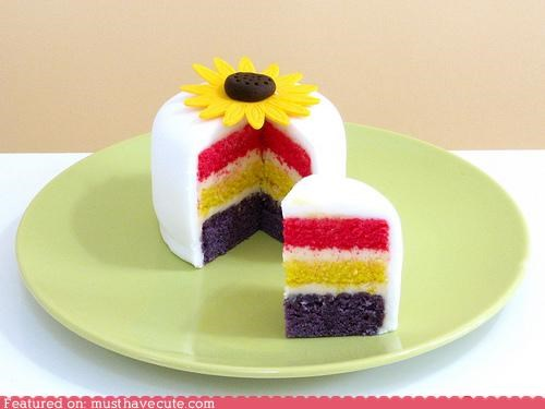 cake,epicute,fondant,layers,miniature,rainbow,sunflower