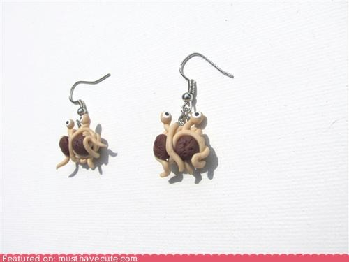 accessories,earrings,flying spaghetti monster,Jewelry