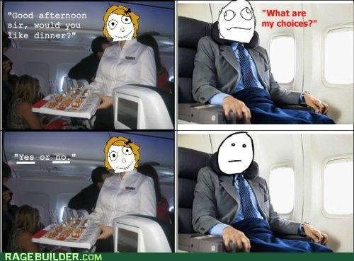 airplane choices dinner flight food Rage Comics - 4986480896