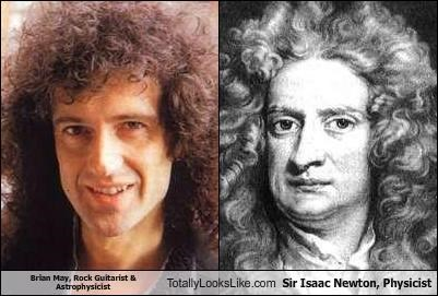 astrophysics brian may guitarists musicians physicist physics rock music scientists Sir Isaac Newton