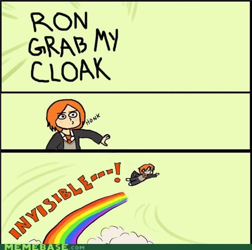 clock grab gryffindor Harry Potter invisible Memes rainbow ron - 4986876928