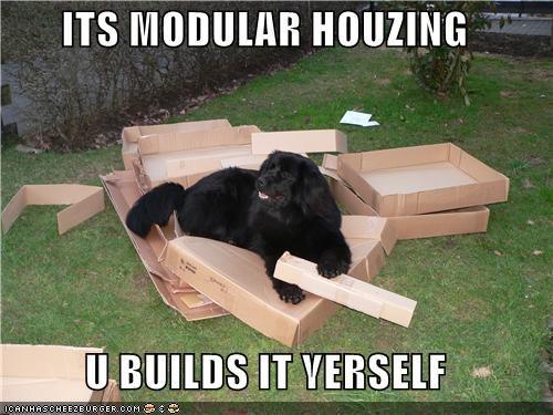 cardboard boxes construction destruction mess modular housing newfoundland outdoors - 4987016704