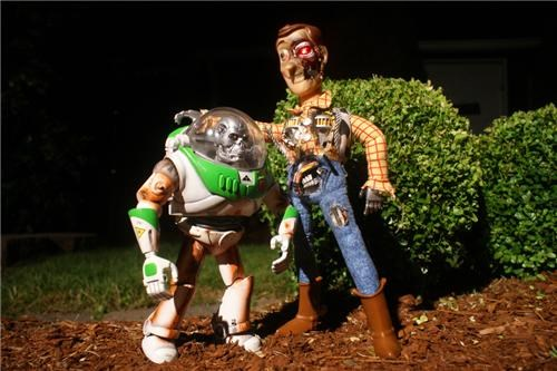 buzz lightyear,movies,terminator,Toyz,woody