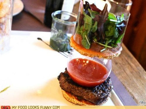burger,Deconstructed,france,glass,greens,ketchup,layers