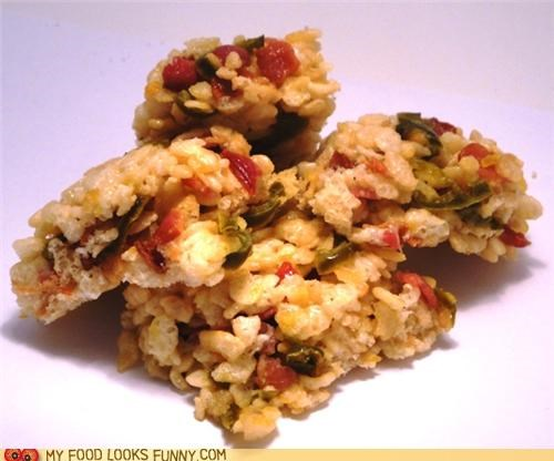 bacon,Jalapeño,rice krispie treats,salty,spicy