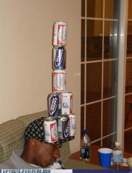 beer passed out balancing act hat funny after 12 g rated