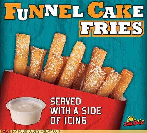 Del Taco fried fries funnel cake icing sticks sweet