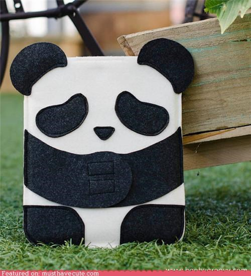 case ipad panda sleeve wool