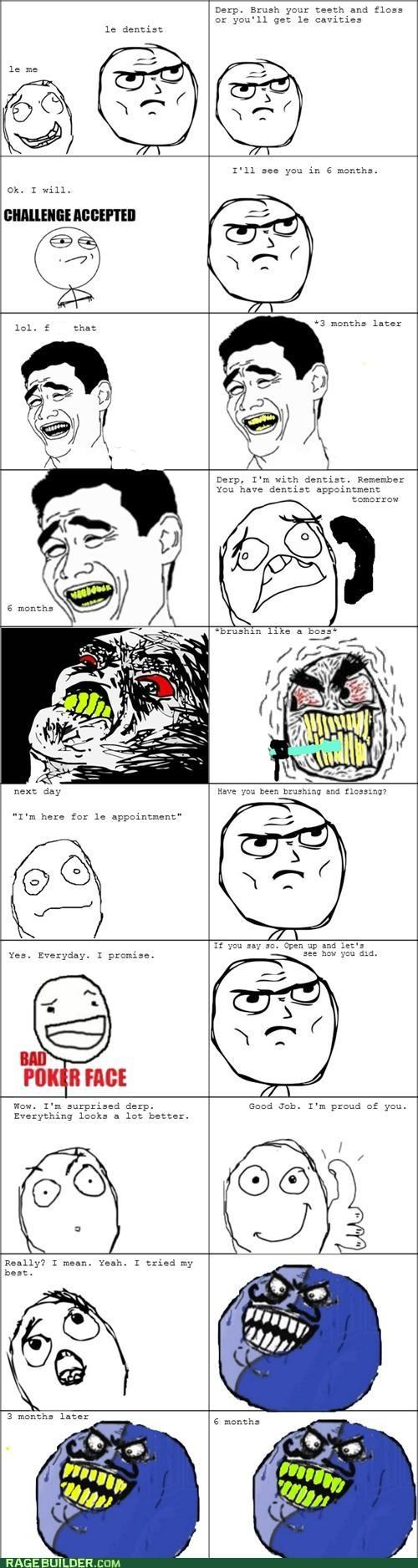 brushing and flossing,dentist,floss,gross,i lied,Rage Comics,teeth,yellow
