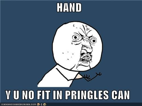 can,chips,food,hand,pringles,snacks,ugh,Y U No Guy