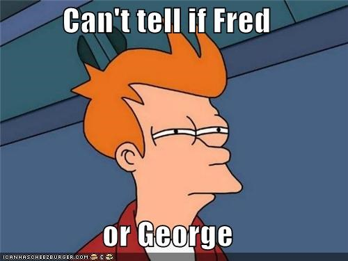 fred,fry,George,Harry Potter,movies,special effects,twins