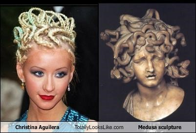 art,christina aguilera,hairstyle,medusa,sculpture,ugly hair