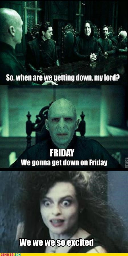 bellatrix,Harry Potter,Rebecca Black,voldemort