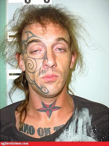 bad idea face tats face tattoos g rated mug shots tattoos tribal Ugliest Tattoos words - 4988555520