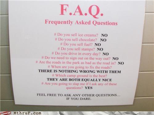 FAQ park questions sign - 4989184000