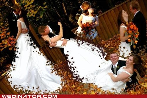 bad photoshop,bride,funny wedding photos,groom,leaves