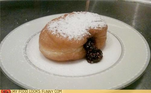 donut,filling,foie gras,powdered sugar