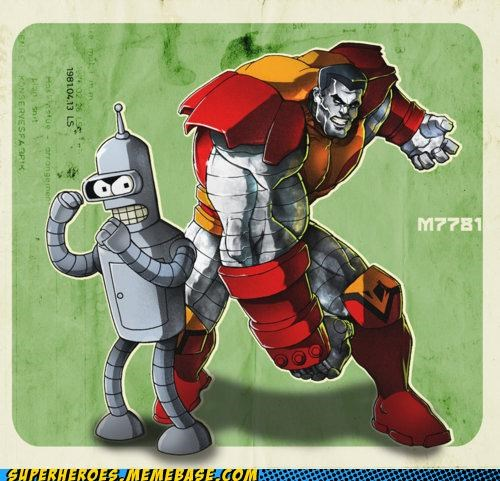 Awesome Art,bender,colossus,futurama,x men