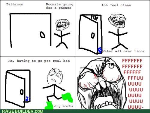 bathroom fu guy Rage Comics socks troll wet floor - 4990545664