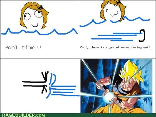 Dragon Ball Z,jet,pool,Rage Comics,water