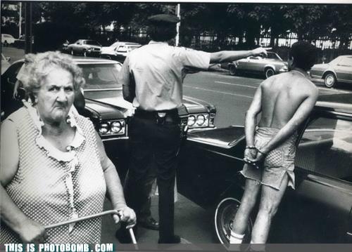 arrest,elderbomb,grandma,lady,police,vintage
