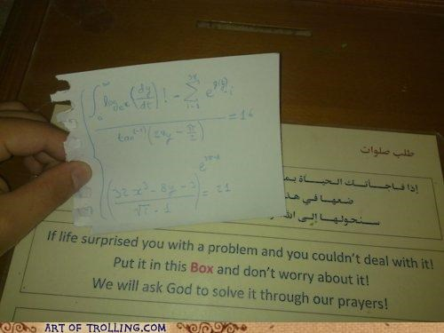 god IRL math prayer problem