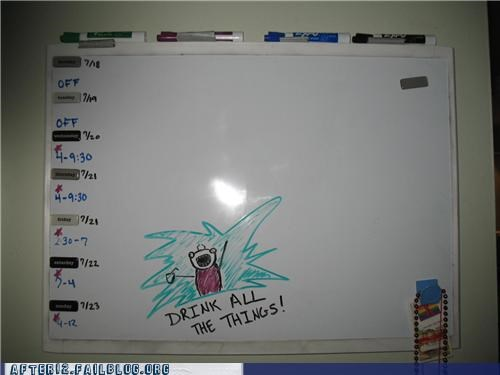 agenda all the things drink whiteboard