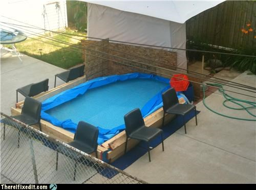 dual use,holding it up,pool,redneck,summer,tarp