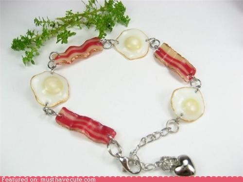 bacon,bracelet,breakfast,eggs,Jewelry,miniature