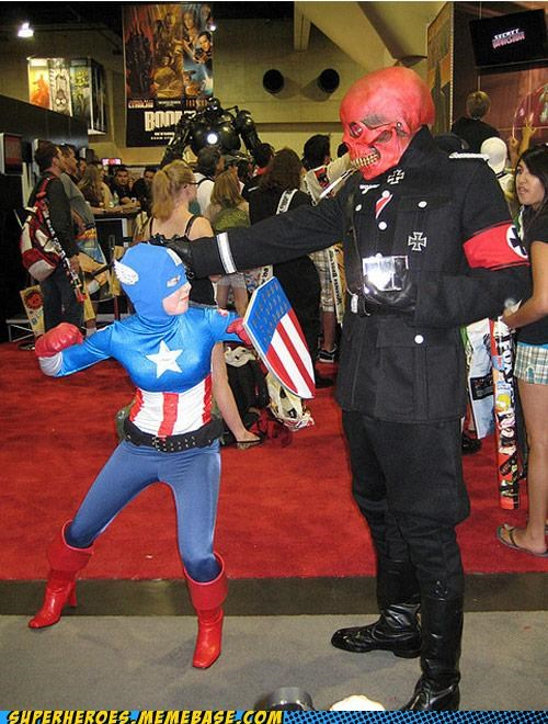 captain america,convention,lady,Red Skull,Super Costume