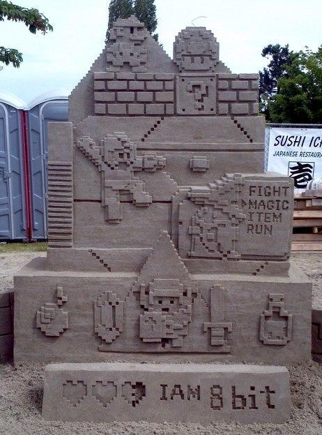 8 bit Fan Art final fantasy mario mega man nintendo sand sculpture video games zelda - 4994045184