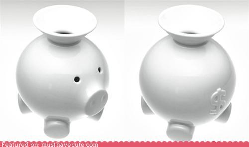 ceramic funnel money piggy bank save white