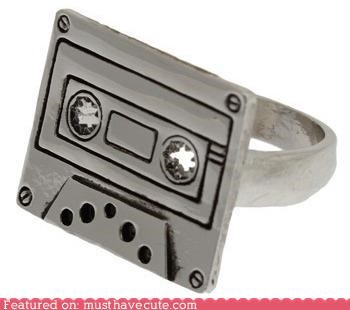 casette,Jewelry,metal,retro,ring,silver,tape
