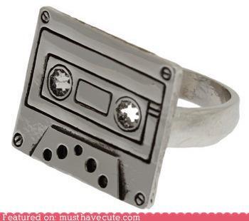 casette Jewelry metal retro ring silver tape - 4994328832