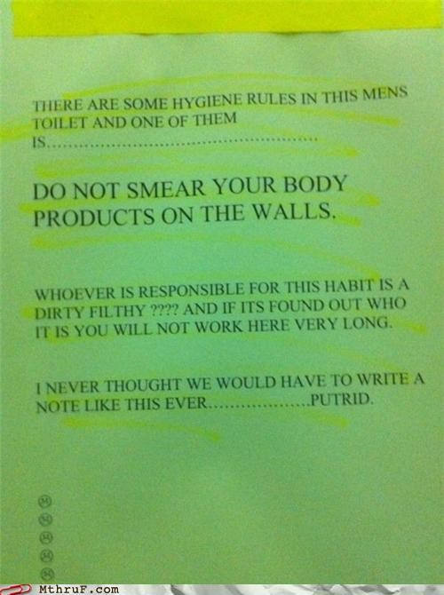 bathroom body products poop sign