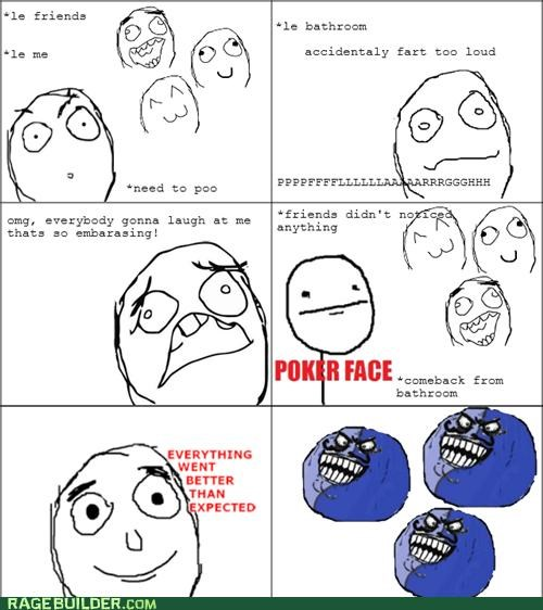 bathroom everything went better than expected i lied noises poker face pootimes Rage Comics - 4994481920
