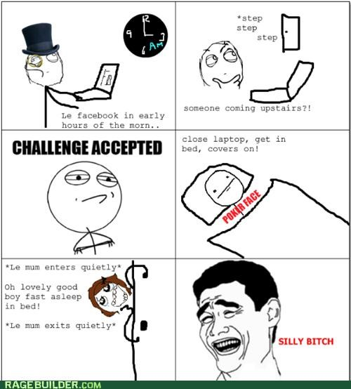 bed time,Challenge Accepted,facebook,mom,night,poker face,Rage Comics