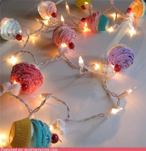 christmas lights,cupcakes,festive,lights,miniature,Party,string