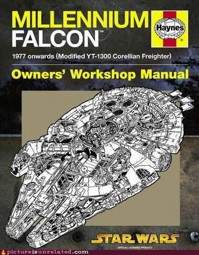 millennium falcon,owners-manual,star wars,wtf