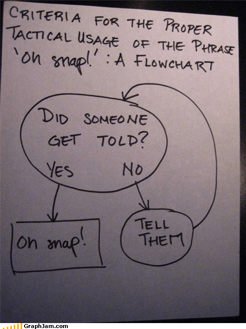 flow chart,oh snap,phrase,proper usage,told