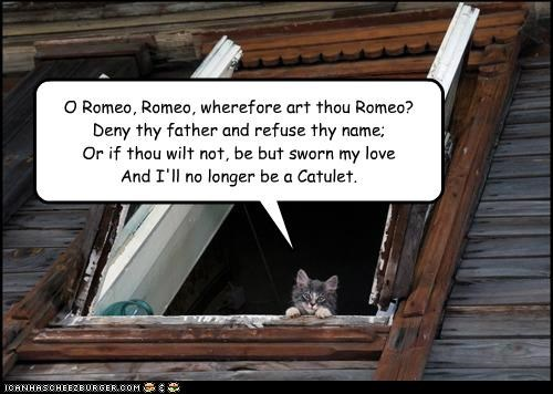 O Romeo, Romeo, wherefore art thou Romeo? Deny thy father and refuse thy name; Or if thou wilt not, be but sworn my love And I'll no longer be a Catulet.
