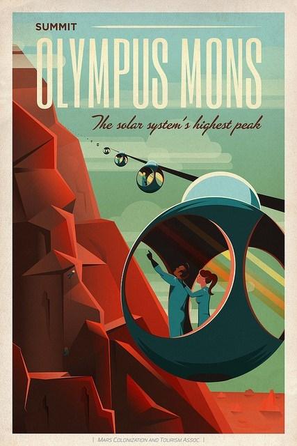 retro posters elon musk olympus mons Mars space x - 499717