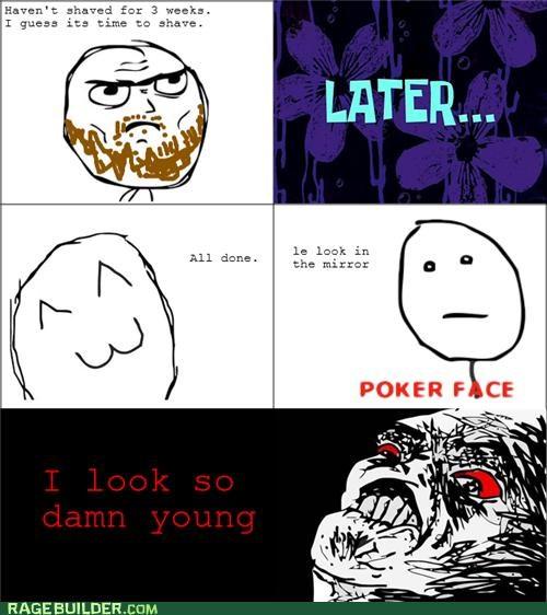 age beard looks poker face Rage Comics shaving young - 4997694976