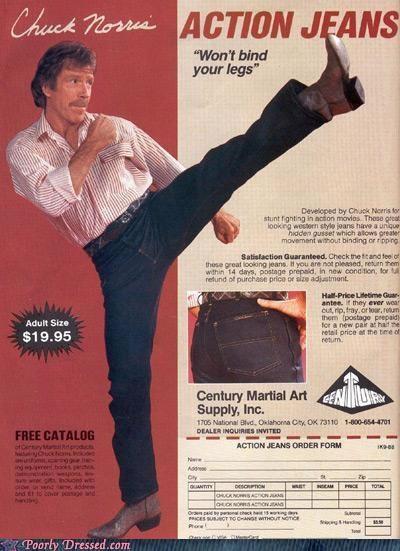 chuck norris jeans martial arts roundhouse kick - 4997970176