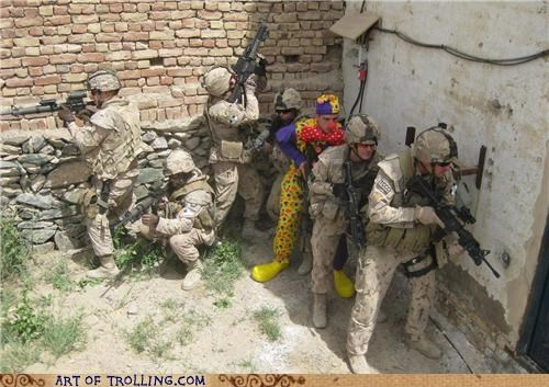 awesome,camouflage,clown,IRL,soldiers,win