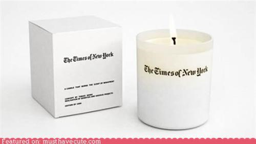 candle,new york times,newspaper,newsprint,scented