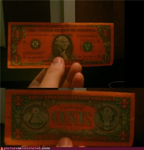 dollar bill george washington orange wtf - 4998362368